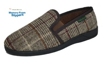 Men's Classic Check Slippers Dk Brown
